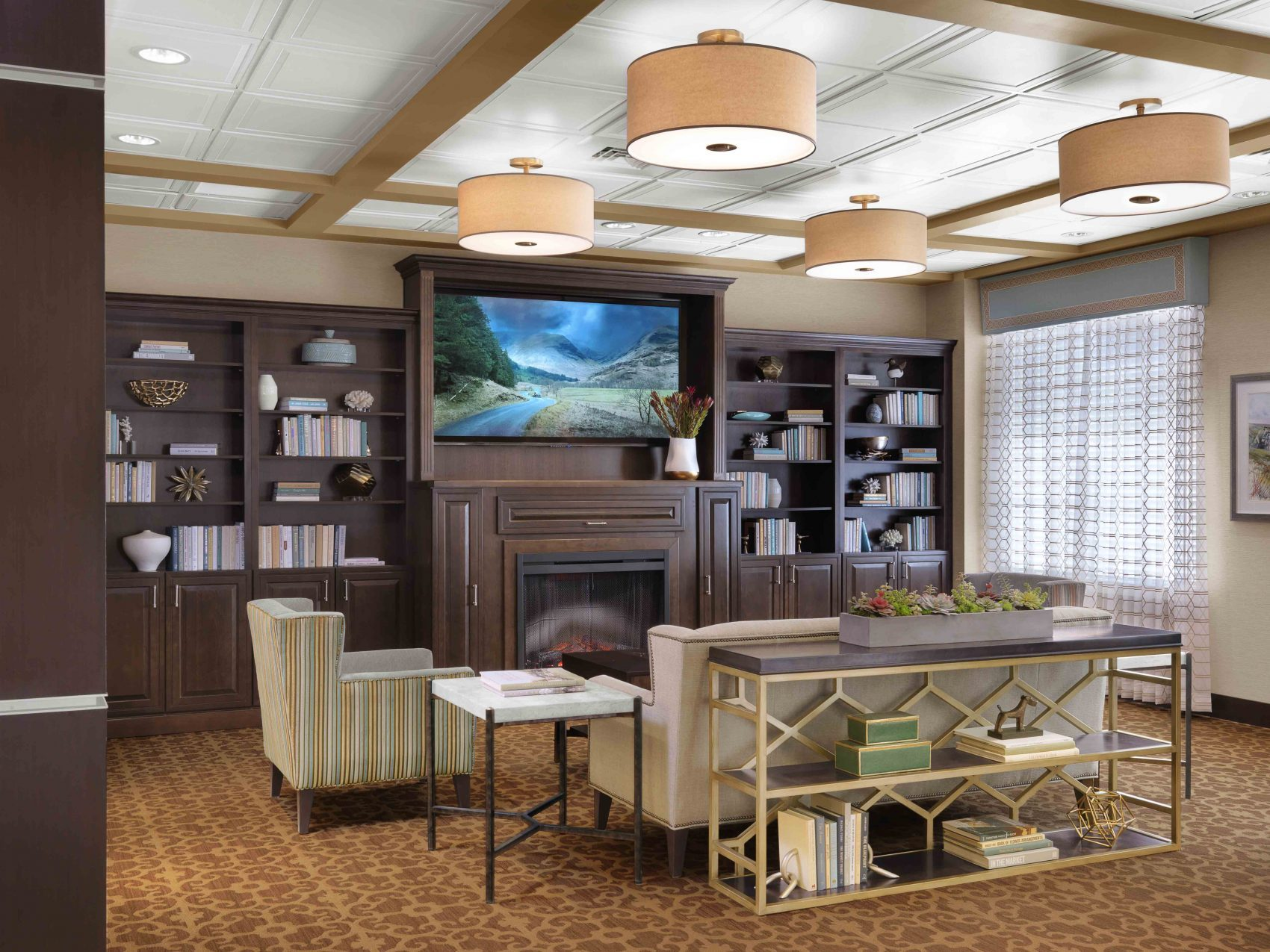 Senior Living Interior Design Furniture Procurement Art Lounge Library Lounge