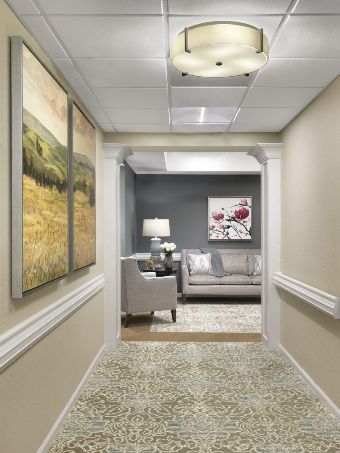 Senior Living Interior Design Furniture Procurement Art Corridor